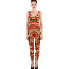 Gold And Red Mandala OnePiece Catsuit