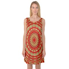 Gold And Red Mandala Sleeveless Satin Nightdress