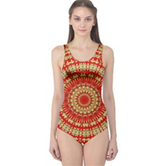 Gold And Red Mandala One Piece Swimsuit
