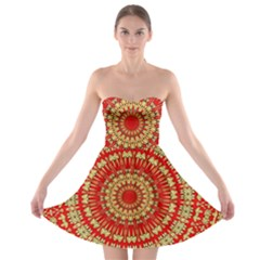 Gold And Red Mandala Strapless Bra Top Dress