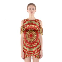 Gold And Red Mandala Shoulder Cutout One Piece