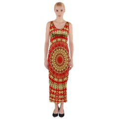 Gold And Red Mandala Fitted Maxi Dress