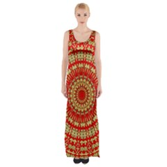 Gold And Red Mandala Maxi Thigh Split Dress