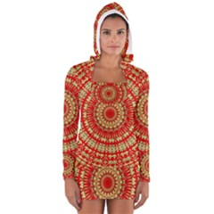 Gold And Red Mandala Women s Long Sleeve Hooded T-shirt