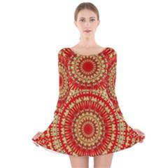 Gold And Red Mandala Long Sleeve Velvet Skater Dress