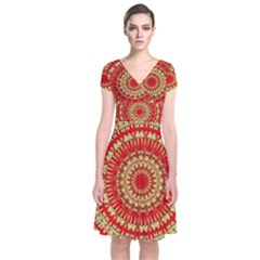 Gold And Red Mandala Short Sleeve Front Wrap Dress