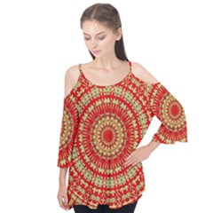 Gold And Red Mandala Flutter Tees