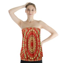 Gold And Red Mandala Strapless Top