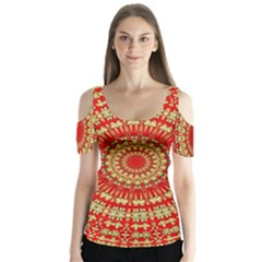 Gold And Red Mandala Butterfly Sleeve Cutout Tee