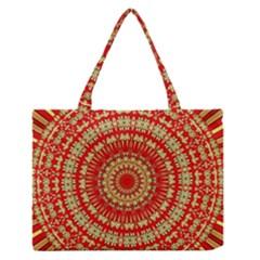 Gold And Red Mandala Medium Zipper Tote Bag