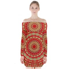 Gold And Red Mandala Long Sleeve Off Shoulder Dress