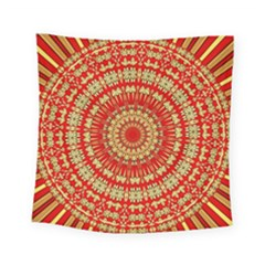 Gold And Red Mandala Square Tapestry (small)