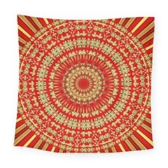 Gold And Red Mandala Square Tapestry (large)