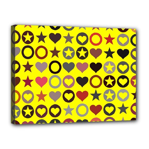 Heart Circle Star Seamless Pattern Canvas 16  X 12