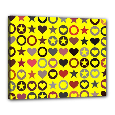Heart Circle Star Seamless Pattern Canvas 20  X 16