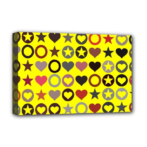 Heart Circle Star Seamless Pattern Deluxe Canvas 18  X 12