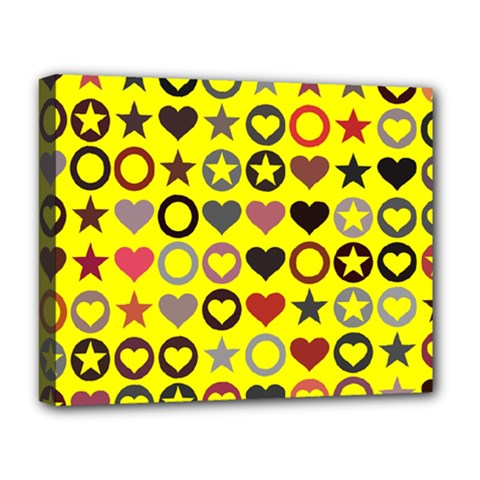 Heart Circle Star Seamless Pattern Deluxe Canvas 20  X 16