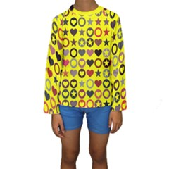 Heart Circle Star Seamless Pattern Kids  Long Sleeve Swimwear