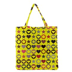 Heart Circle Star Seamless Pattern Grocery Tote Bag