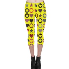 Heart Circle Star Seamless Pattern Capri Leggings