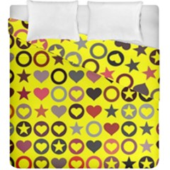 Heart Circle Star Seamless Pattern Duvet Cover Double Side (king Size)