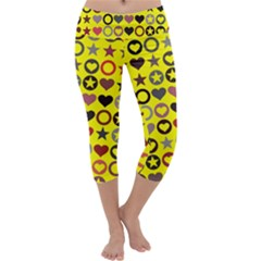 Heart Circle Star Seamless Pattern Capri Yoga Leggings
