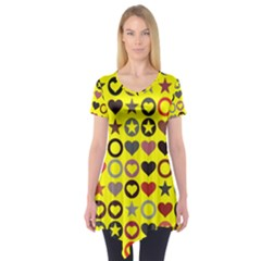 Heart Circle Star Seamless Pattern Short Sleeve Tunic