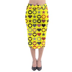 Heart Circle Star Seamless Pattern Midi Pencil Skirt