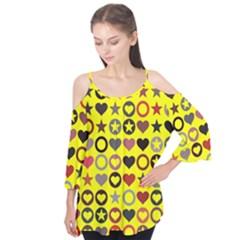 Heart Circle Star Seamless Pattern Flutter Tees