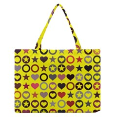 Heart Circle Star Seamless Pattern Medium Zipper Tote Bag