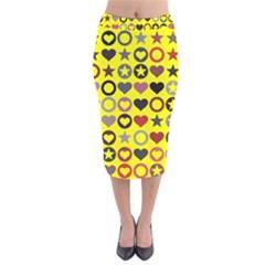 Heart Circle Star Seamless Pattern Velvet Midi Pencil Skirt