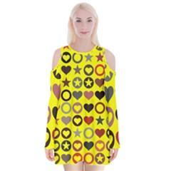 Heart Circle Star Seamless Pattern Velvet Long Sleeve Shoulder Cutout Dress