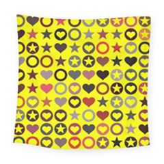 Heart Circle Star Seamless Pattern Square Tapestry (large)