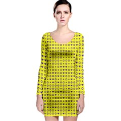Heart Circle Star Seamless Pattern Long Sleeve Bodycon Dress