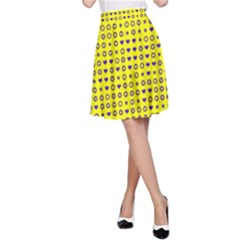 Heart Circle Star Seamless Pattern A Line Skirt