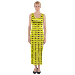 Heart Circle Star Seamless Pattern Fitted Maxi Dress