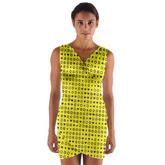 Heart Circle Star Seamless Pattern Wrap Front Bodycon Dress