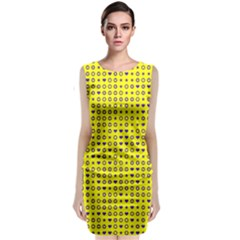 Heart Circle Star Seamless Pattern Classic Sleeveless Midi Dress