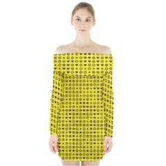 Heart Circle Star Seamless Pattern Long Sleeve Off Shoulder Dress
