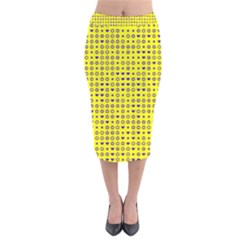 Heart Circle Star Seamless Pattern Velvet Midi Pencil Skirt
