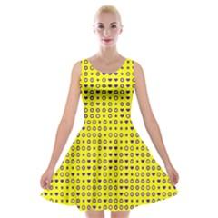 Heart Circle Star Seamless Pattern Velvet Skater Dress