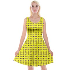 Heart Circle Star Seamless Pattern Reversible Velvet Sleeveless Dress
