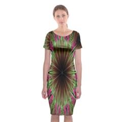 Julian Star Star Fun Green Violet Classic Short Sleeve Midi Dress