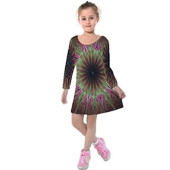 Julian Star Star Fun Green Violet Kids  Long Sleeve Velvet Dress
