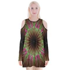 Julian Star Star Fun Green Violet Velvet Long Sleeve Shoulder Cutout Dress