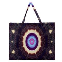 Mandala Art Design Pattern Ornament Flower Floral Zipper Large Tote Bag