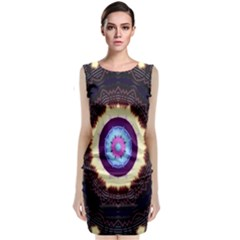 Mandala Art Design Pattern Ornament Flower Floral Sleeveless Velvet Midi Dress