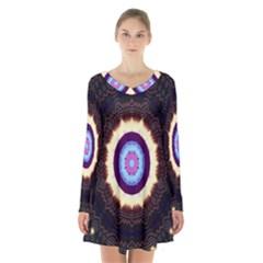 Mandala Art Design Pattern Ornament Flower Floral Long Sleeve Velvet V Neck Dress