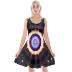 Mandala Art Design Pattern Ornament Flower Floral Reversible Velvet Sleeveless Dress