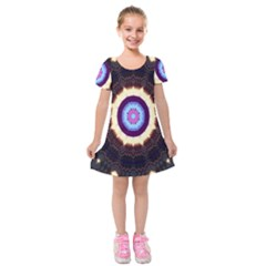 Mandala Art Design Pattern Ornament Flower Floral Kids  Short Sleeve Velvet Dress
